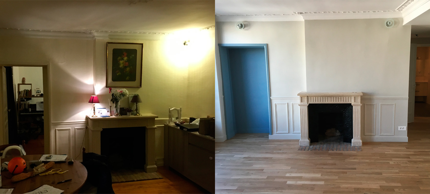 Rénovation appartement charme Chantilly salon