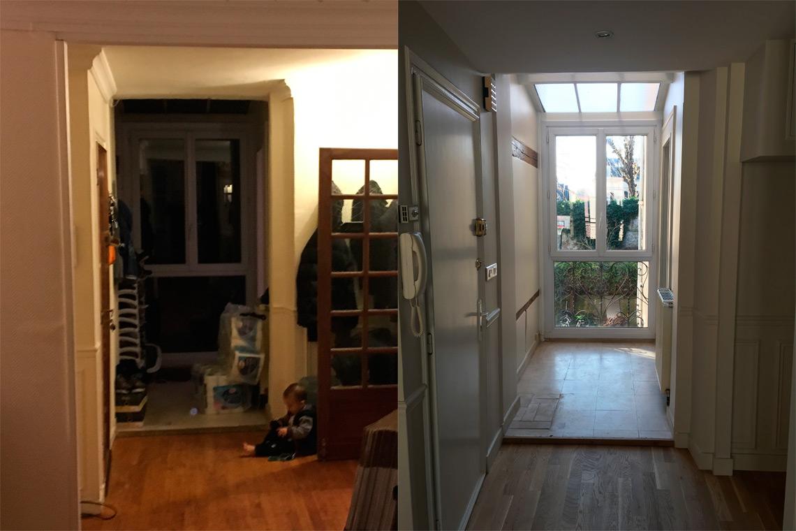 Rénovation appartement charme Chantilly entrée