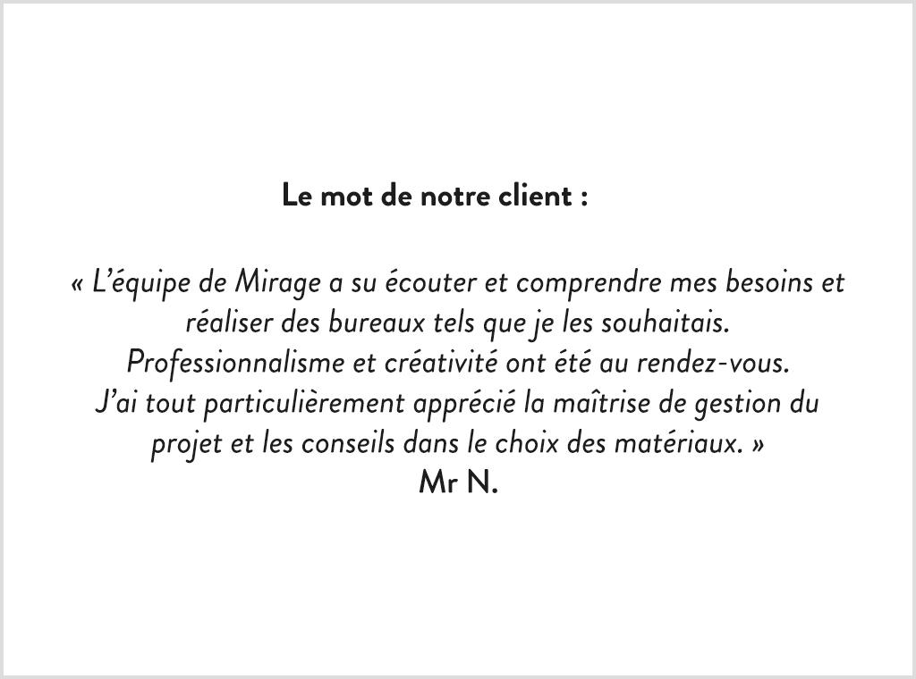 Avis client rénovation bureaux de standing Chantilly